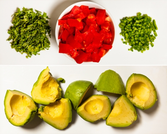 uacamole Ingredients: Cilantro, Tomato, Jalapeno, Avocado