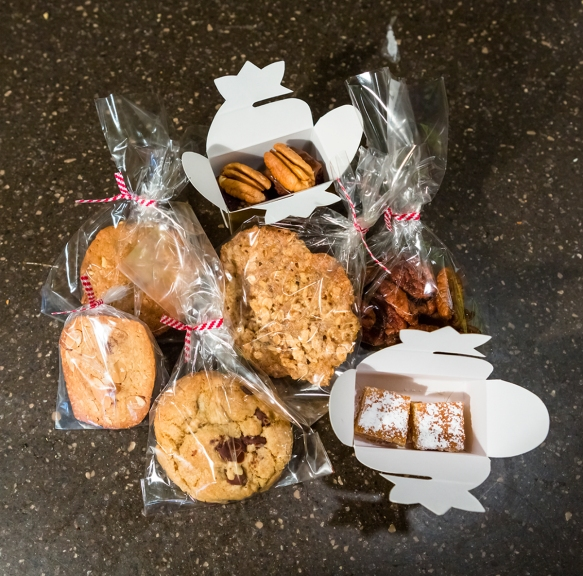 individually gift-wrapped cookies and Bourbon pecans: client gift for year of the snake